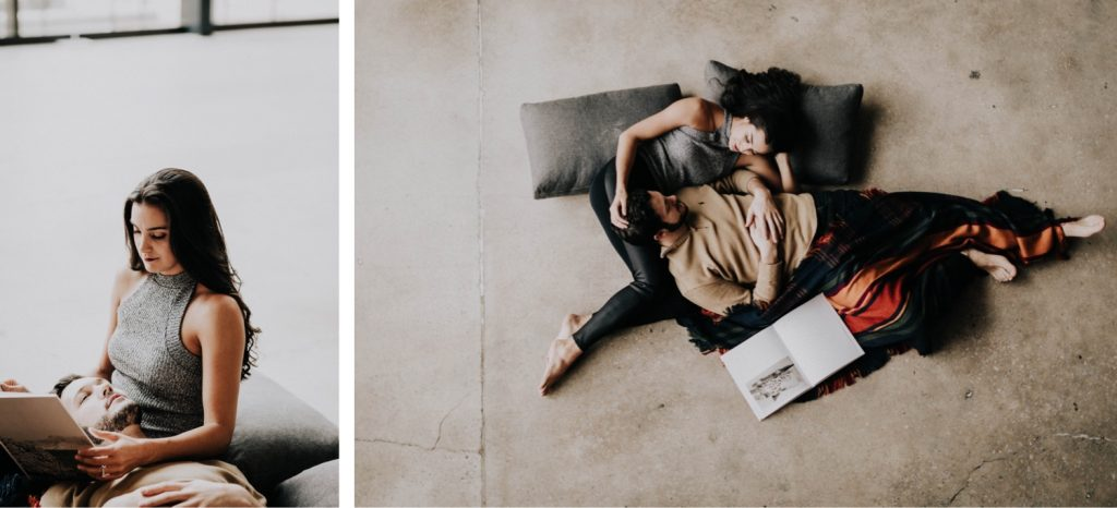 engaged couple snuggling up with each other during their at-home engagement photos