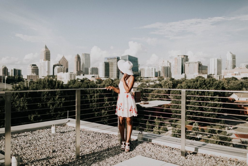 bride before she gets proposed to on a Georgia Tech rooftop