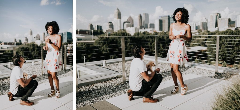 groom proposing to his girlfriend during their Georgia Tech rooftop proposal