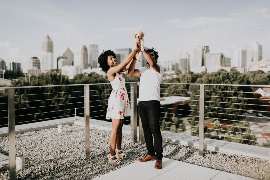 dog is ring bearer at Georgia Tech rooftop proposal