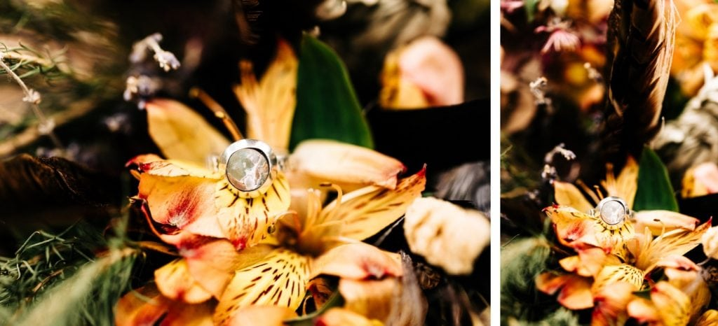 moonstone engagement ring in a bouquet for a camper van wedding elopement