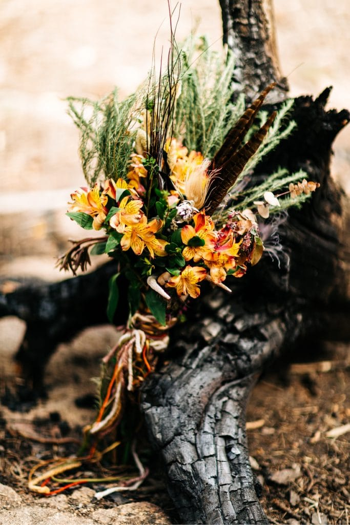 Colorado camper van wedding elopement bouquet
