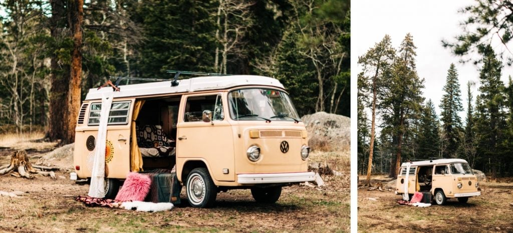 elopement dress hanging on the outside of a camper van before a Colorado camper van elopement wedding