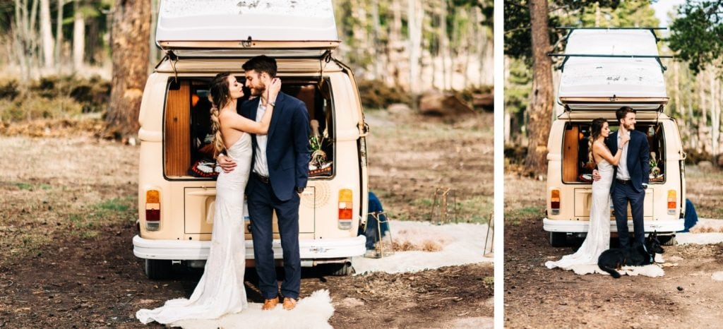 couple hanging out with their dog at their camper van before their Rocky Mountain camper van wedding elopement