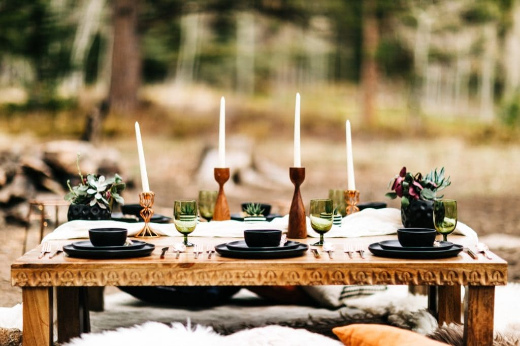 camper van wedding elopement table settings for dinner