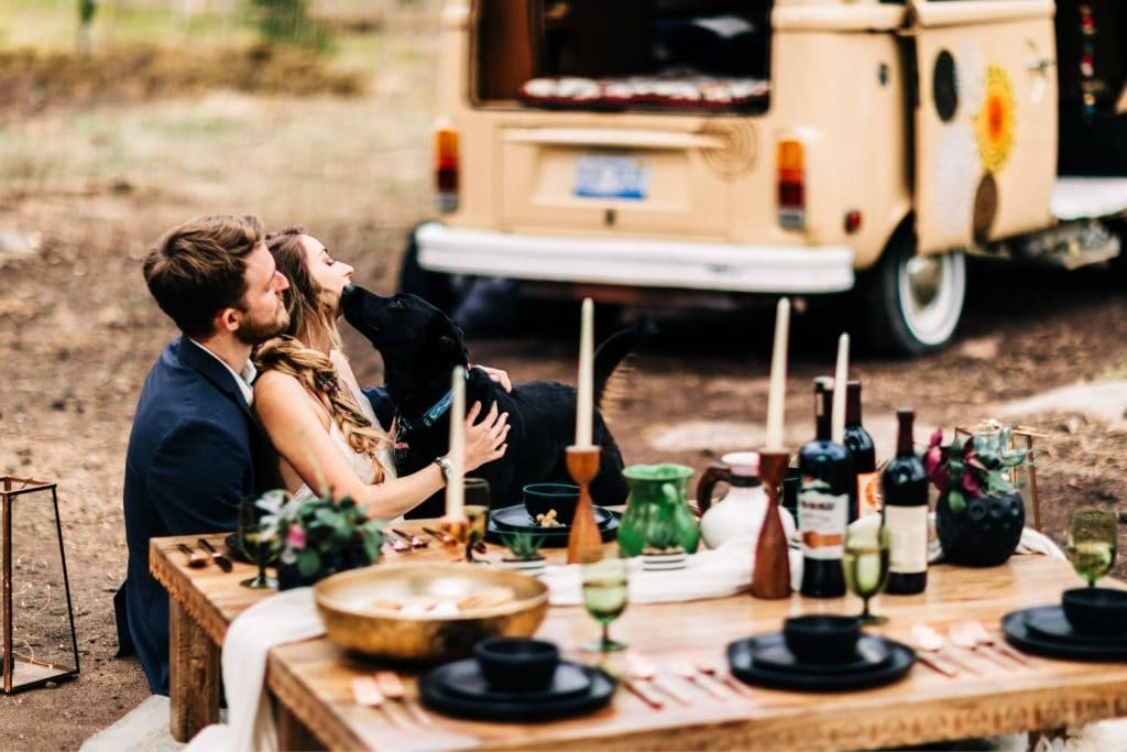 camper van wedding elopement tablescape for dinner