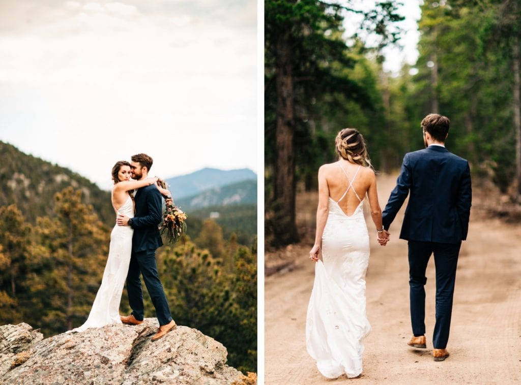 couple running down a dirt road during their camper van elopement wedding in the Colorado Rocky Mountains