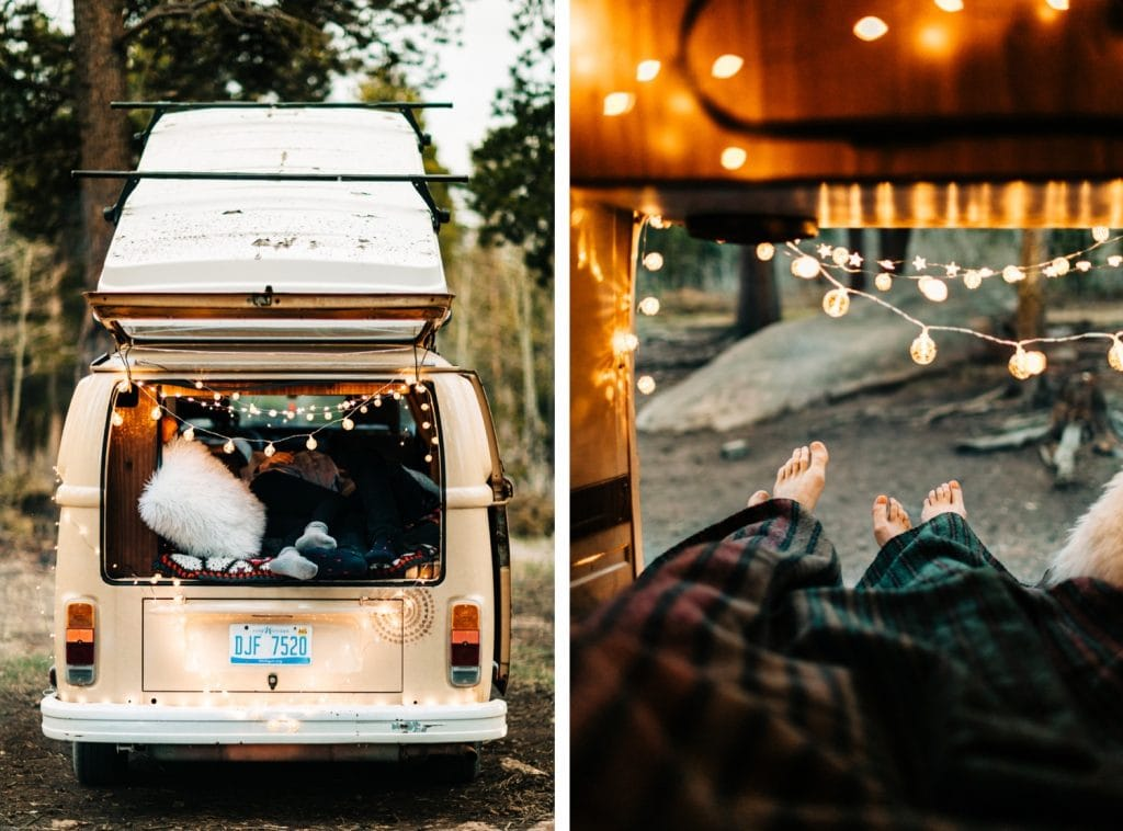 couple snuggling in their van after their camper van elopement wedding in the Colorado Rocky Mountains