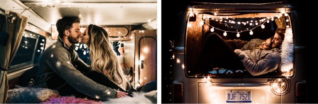 couple curled up in their camper van after their camper van wedding elopement in the Rocky Mountains of Colorado