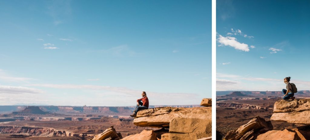 people sitting on the edge of a cliff in the high desert of Moab Utah