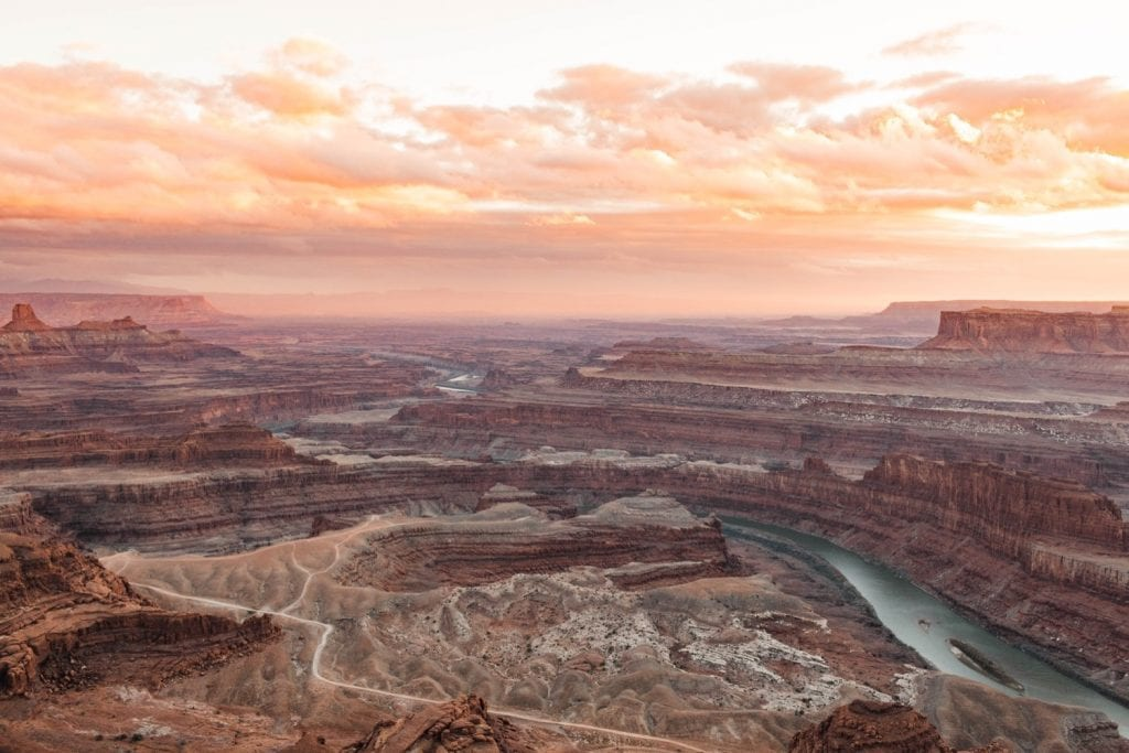 sunset over the Colorado River in the desert of Moab Utah