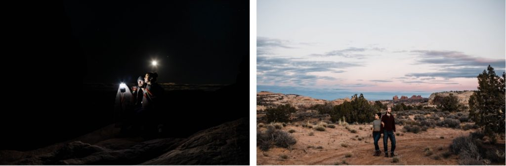 couple exploring the high desert of Moab Utah at dusk and night with a full moon