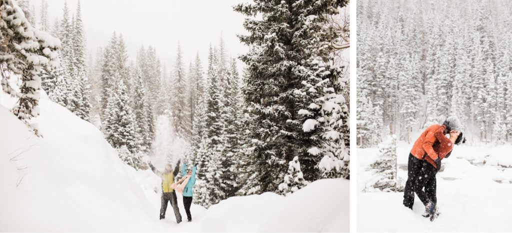 couple enjoying a snow day in the Rocky Mountains of Colorado