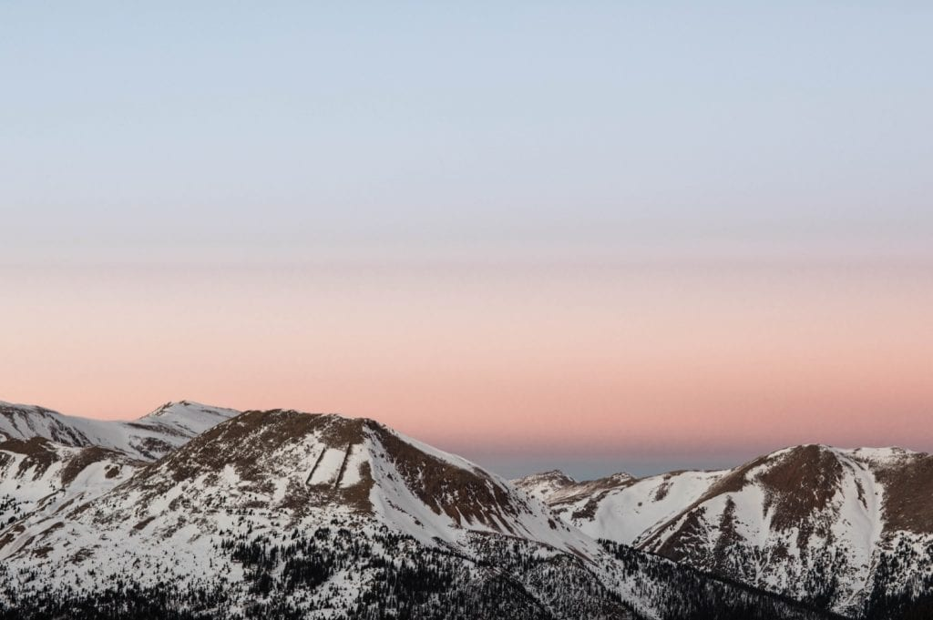 hazy cotton candy sunset on Loveland Pass in Colorado