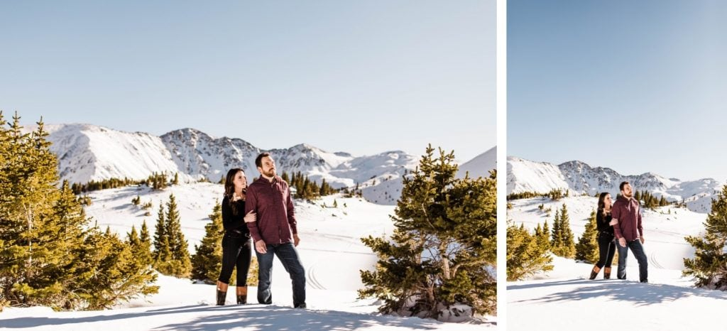 couple adventuring in the snow during their snowy Colorado engagement photos in the Rocky Mountains