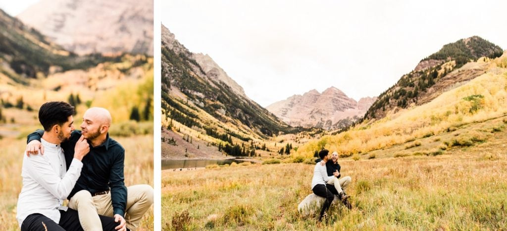 groom and groom snuggling in the mountains of Aspen Colorado during their Maroon Bells proposal