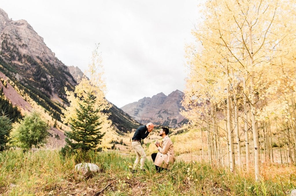 groom proposes to his boyfriend at Maroon Bells in Aspen Colorado