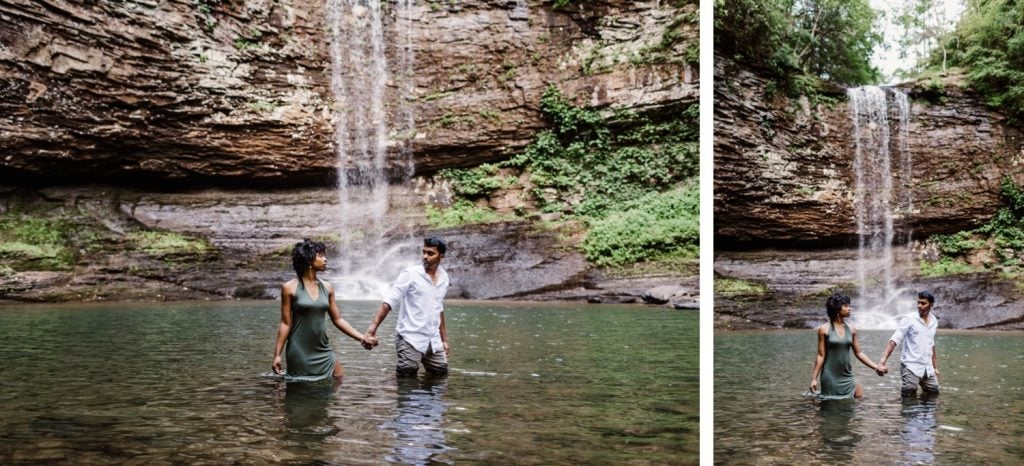 engaged couple slow dancing during their waterfall engagement photos