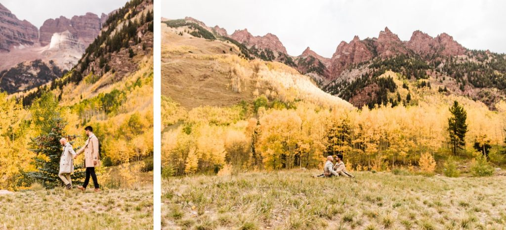 newly engaged same sex couple hiking through the mountains of Aspen Colorado after their Maroon Bells proposal