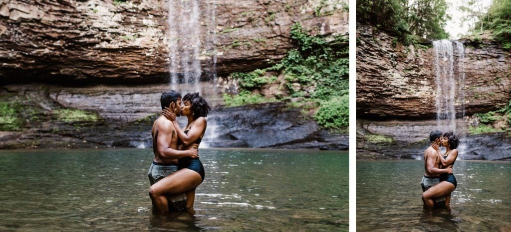 engaged couple playing in the water during their waterfall engagement photos
