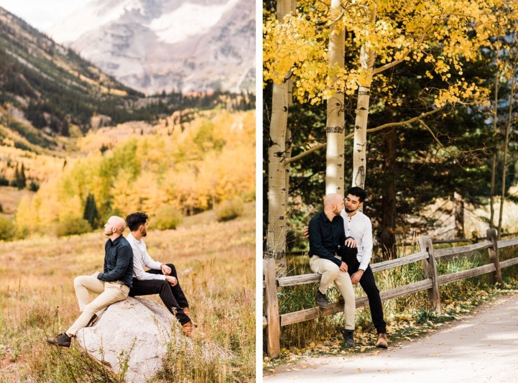 newly engaged same sex couple hanging out together in Aspen Colorado after their Maroon Bells proposal