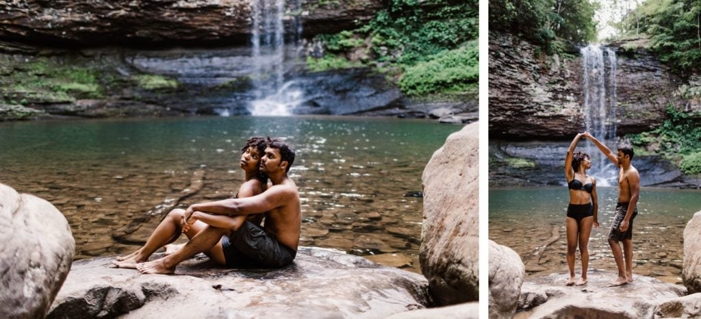engaged couple dancing during their waterfall engagement session