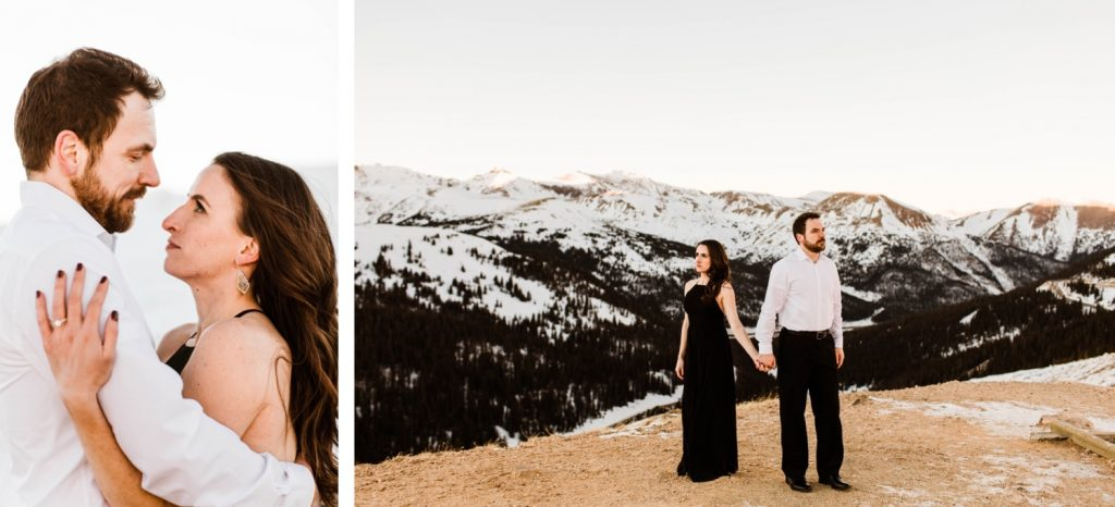 couple hugging in the snowy Rocky Mountains during their snowy Colorado engagement photos
