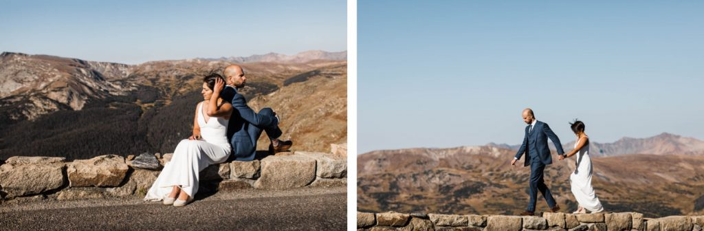 couple standing on the edge of the Rocky Mountains | Estes Park elopement photographers