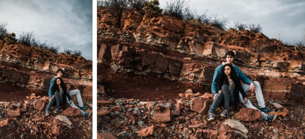 Fort Collins rock wall engagement photos in the Rocky Mountains | wedding photographers in Fort Collins