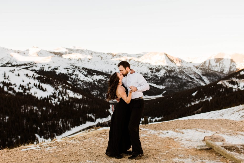 dressy black and white formal engagement outfit inspiration for a Colorado Rocky Mountain engagement session