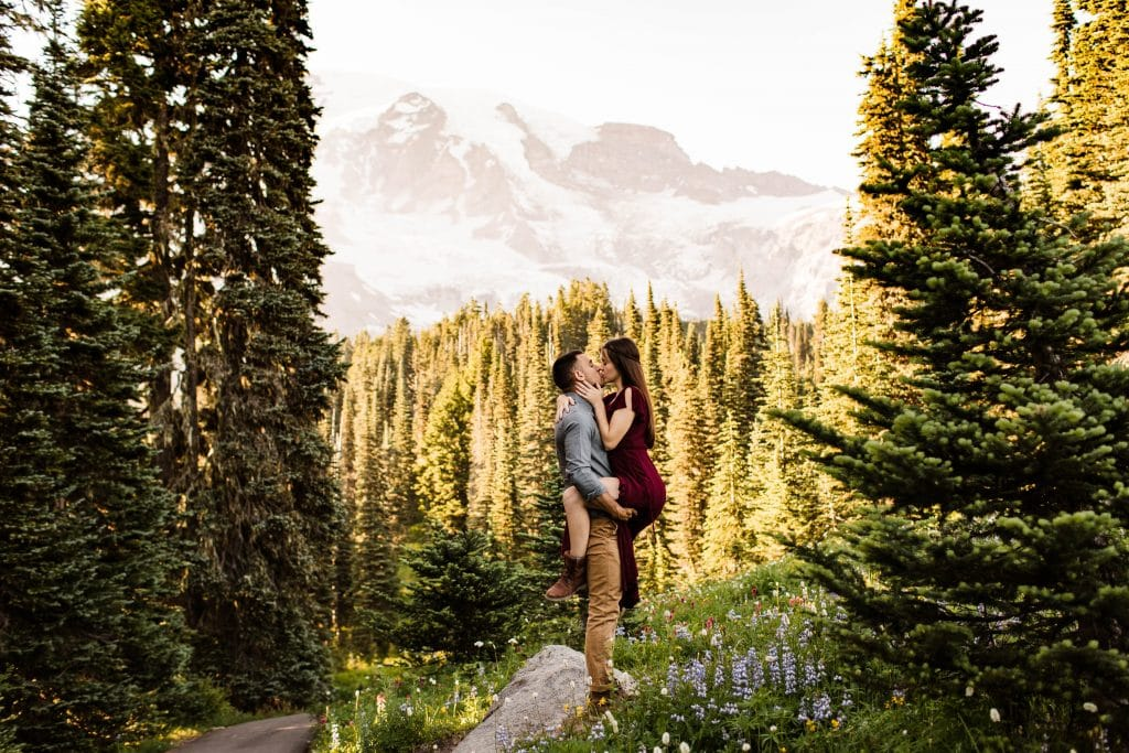 mountain engagement photo inspiration example for ladies wanting a flowy dress