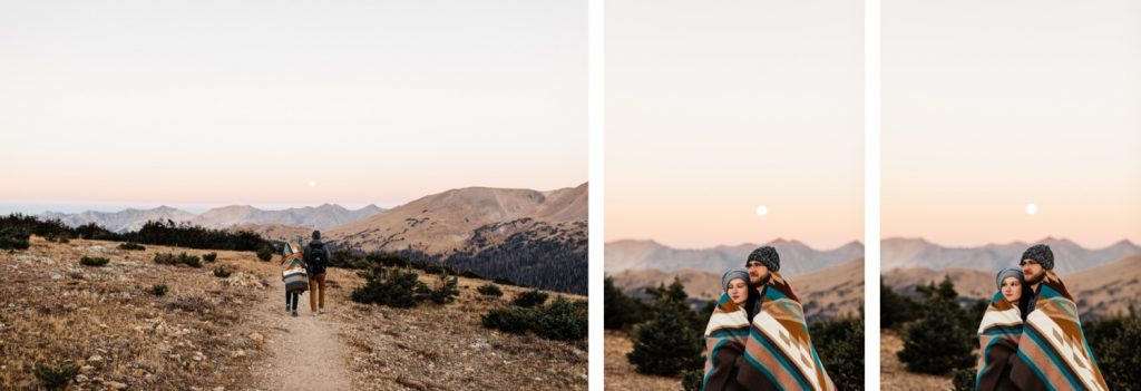 adventurous full moon Rocky Mountain National Park engagement photos taken in Colorado | Rocky Mountain elopement photographers