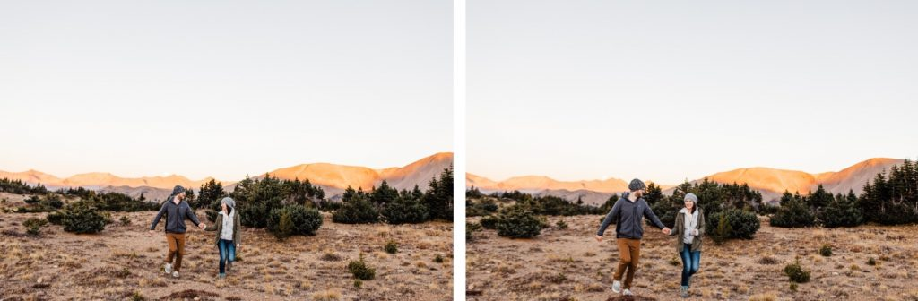 engaged couple running together in the mountains while getting their photos taken during their Rocky Mountain National Park engagement session