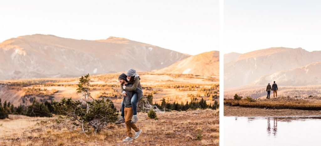 engaged couple adventuring through the Rocky Mountains during their national park engagement session in Colorado