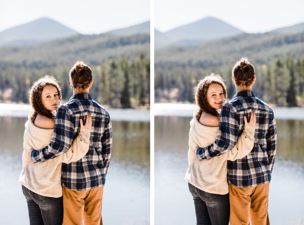 Rocky Mountain National Park engagement photos at Sprague Lake in the fall