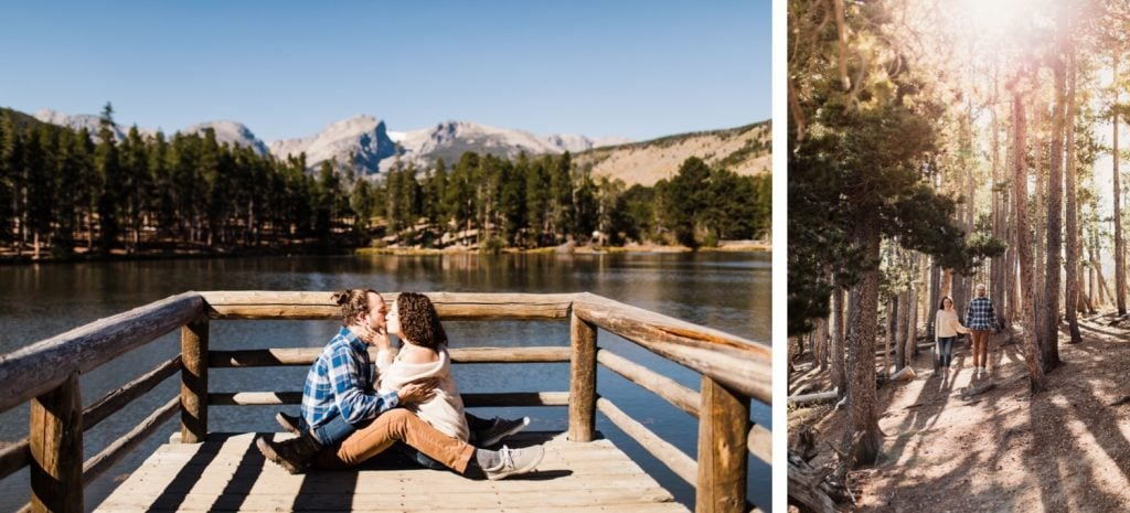 engaged couple kissing by Sprague Lake in Rocky Mountain National Park