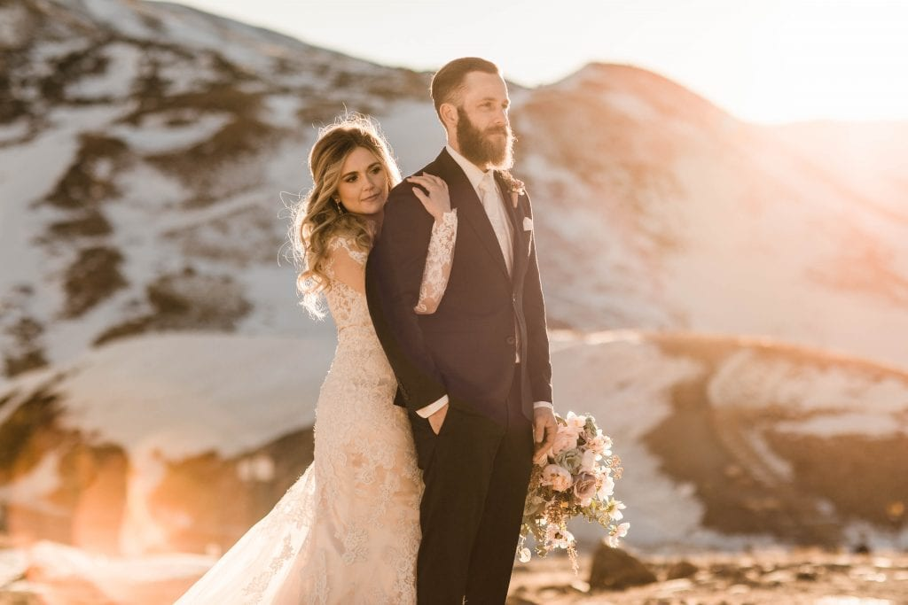 Winter elopement near Breckenridge in the snowy mountainous high country of Colorado