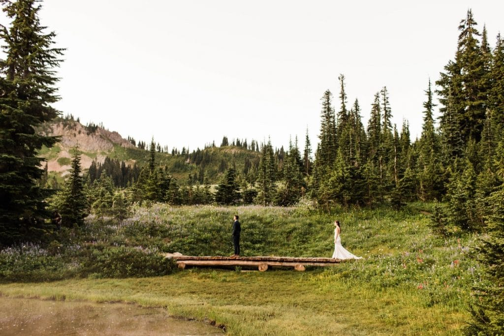 adventurous elopement first look in Mt Rainier National Park | Washington state elopement photographers