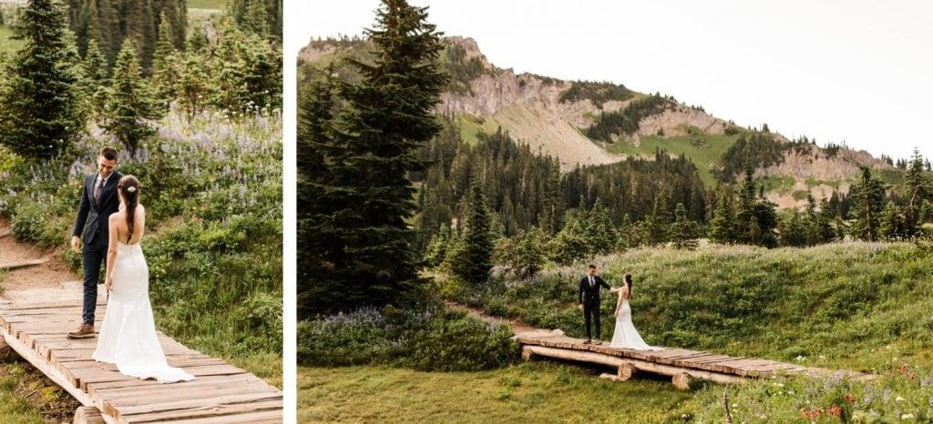 adventurous elopement first look in Mt Rainier National Park | Washington state elopement photographers