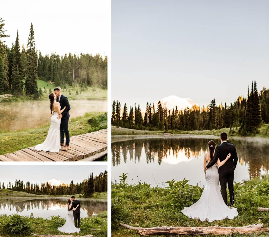 eloping couple standing by an alpine lake during their Mt Rainier elopement | Washington state elopement wedding