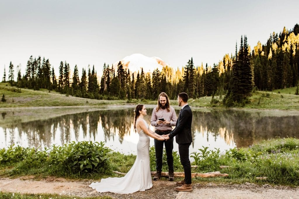 Mt Rainier National park elopement ceremony at an alpine lake in the mountains | Washington state elopement