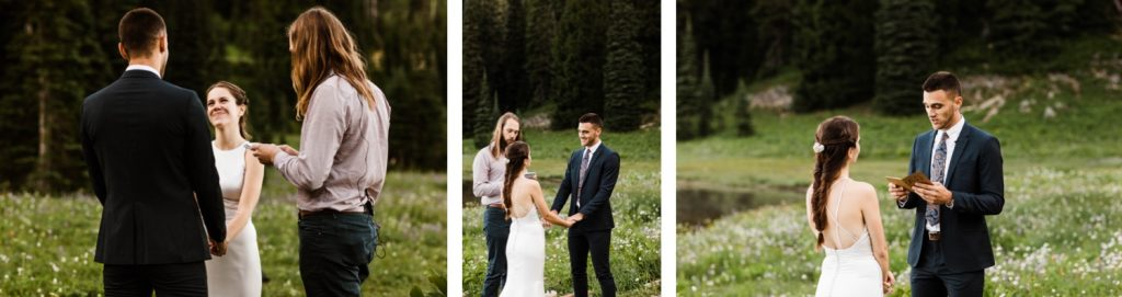 Mt Rainier National park elopement ceremony at an alpine lake in the mountains | Washington state adventure wedding