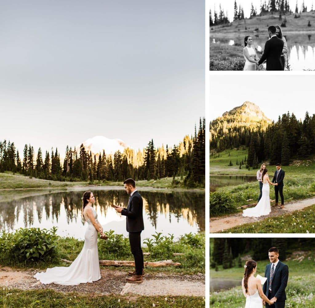 Mt Rainier elopement vow reading at an alpine lake | Washington state national park elopement