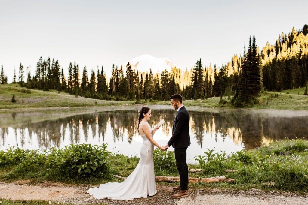 Mt Rainier elopement vow reading at an alpine lake | Washington state national park elopement