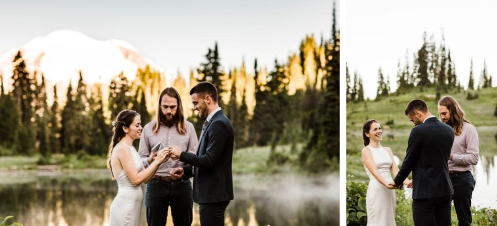 ring exchange during a Mt Rainier elopement ceremony | national park elopement photographers in Washington state