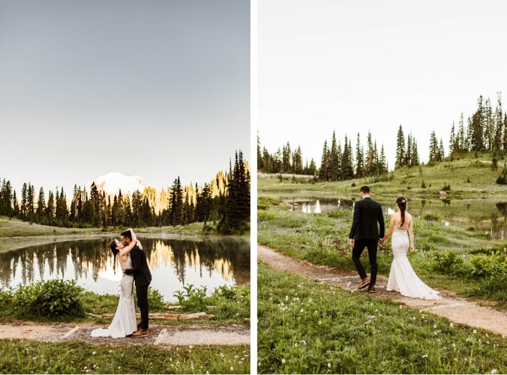 first kiss during mountain elopement ceremony in Mt Rainier | national park elopement photographers in Washington state