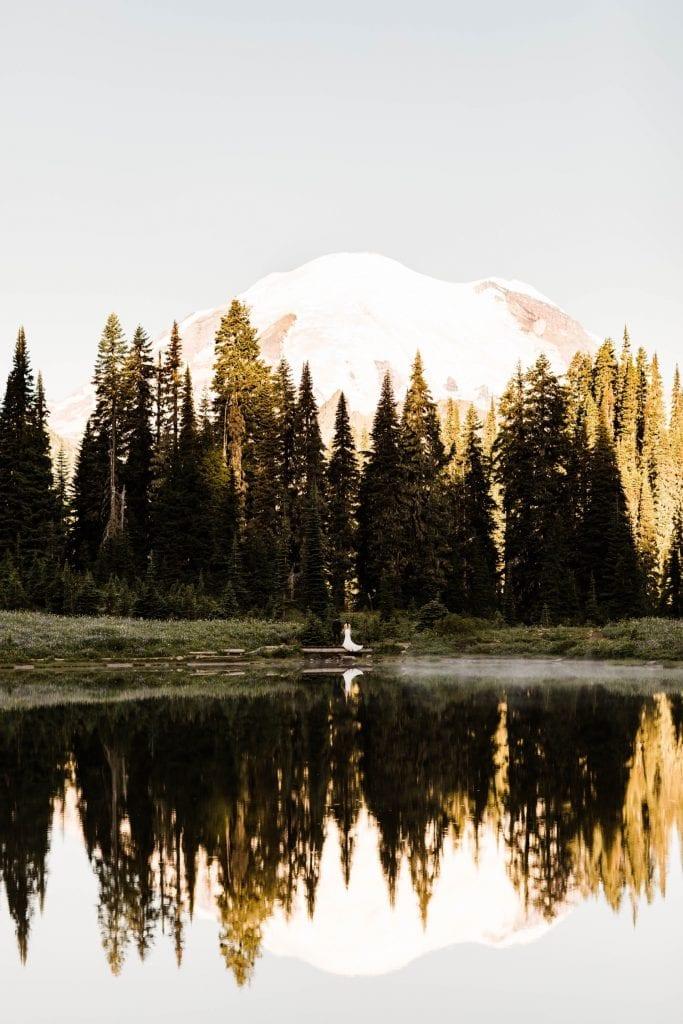 Mt Rainier national park elopement photos at sunrise | Washington state elopements and adventure weddings