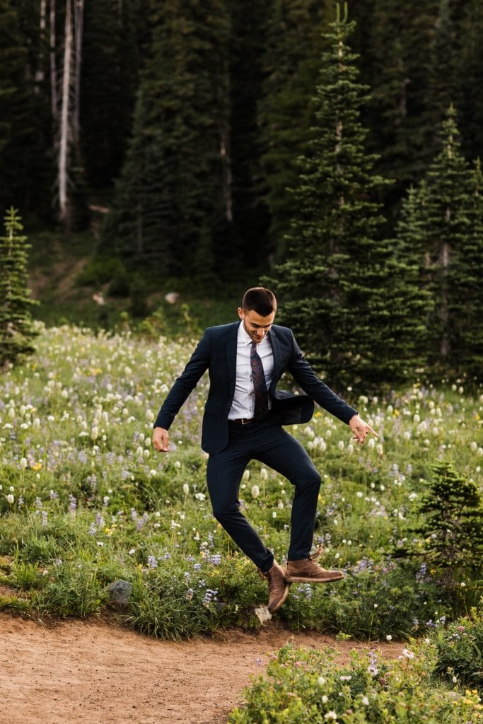 groom photos during an adventurous national park elopement in Mt Rainier | Seattle Washington elopement and adventure wedding photographers