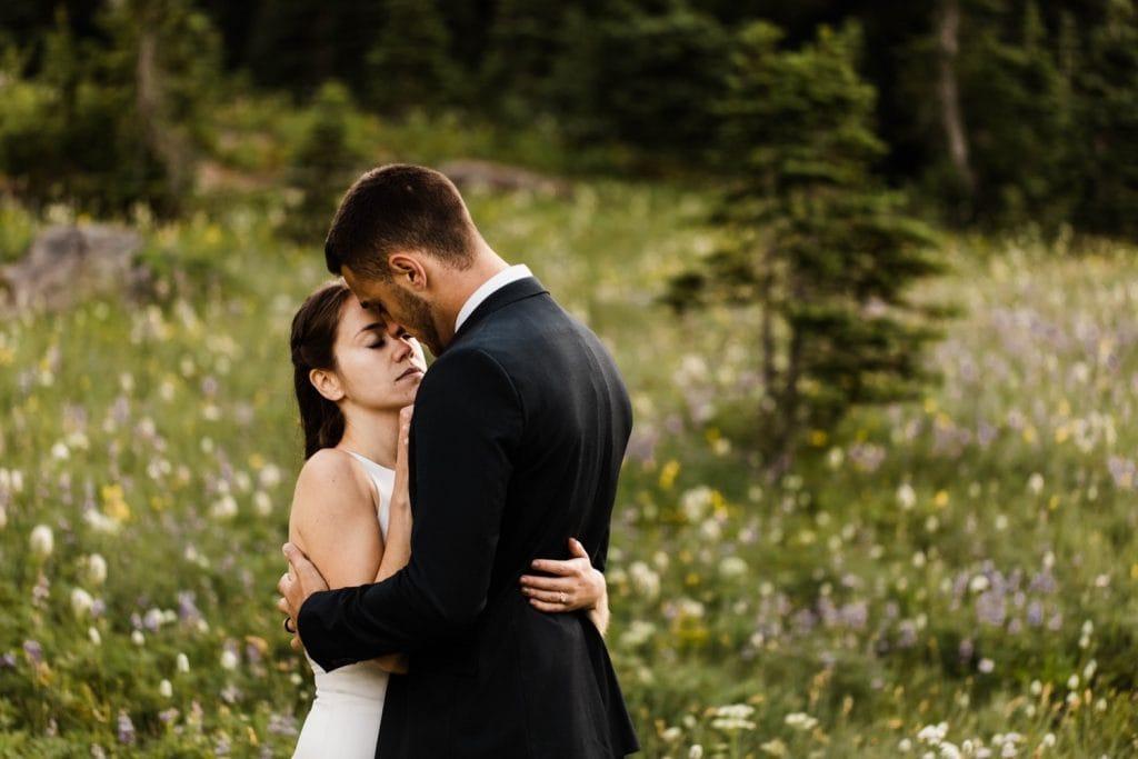 alpine meadow elopement photos in Mt Rainier National Park | adventure elopement photographers in Washington state