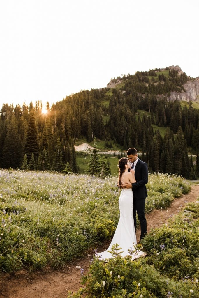 alpine meadow elopement photos in Mt Rainier National Park | adventure elopement photographers in Washington state